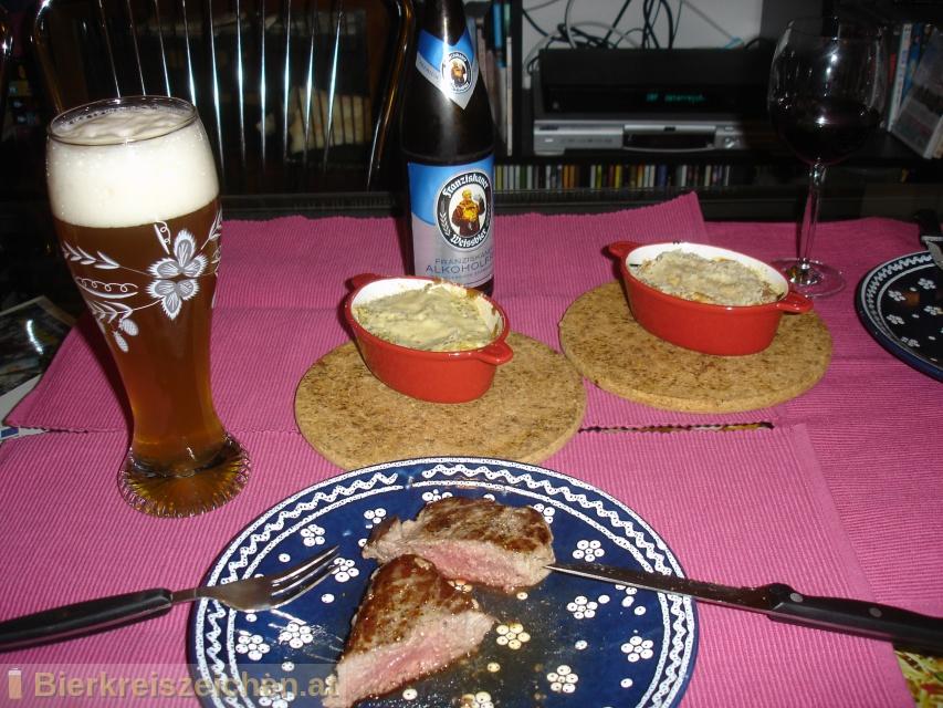 Foto eines Bieres der Marke Franziskaner Alkoholfrei aus der Brauerei Spaten-Franziskaner-Bräu