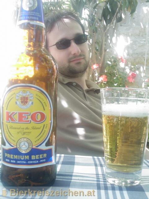 Foto eines Bieres der Marke KEO Premium Beer aus der Brauerei KEO