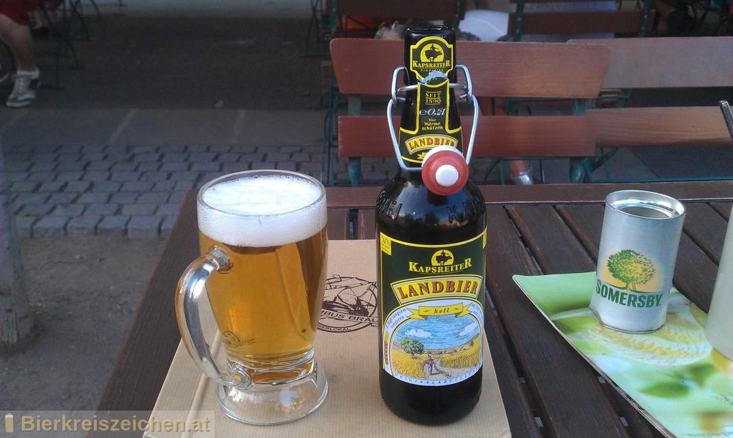 Foto eines Bieres der Marke Kapsreiter Landbier hell aus der Brauerei Brauerei Kapsreiter
