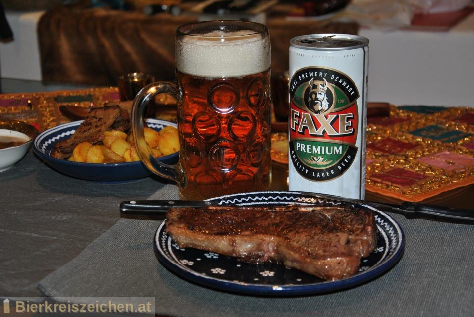 Foto eines Bieres der Marke Faxe Premium aus der Brauerei Faxe Bryggeri A/S