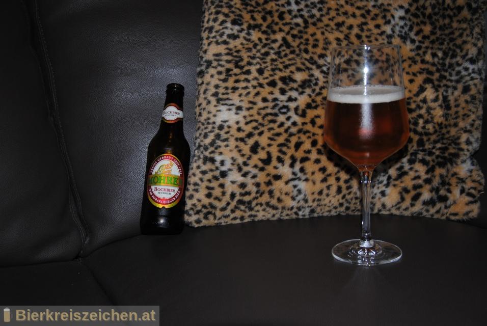 Foto eines Bieres der Marke Mohren Bockbier aus der Brauerei Mohrenbrauerei