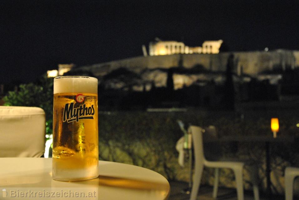 Foto eines Bieres der Marke Mythos Hellenic Lager Beer aus der Brauerei Mythos Brewery S.A.