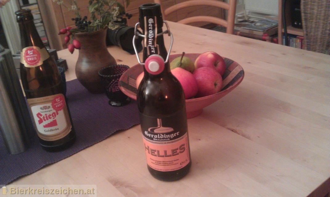 Foto eines Bieres der Marke Geroldinger Helles aus der Brauerei Geroldinger Brauhaus