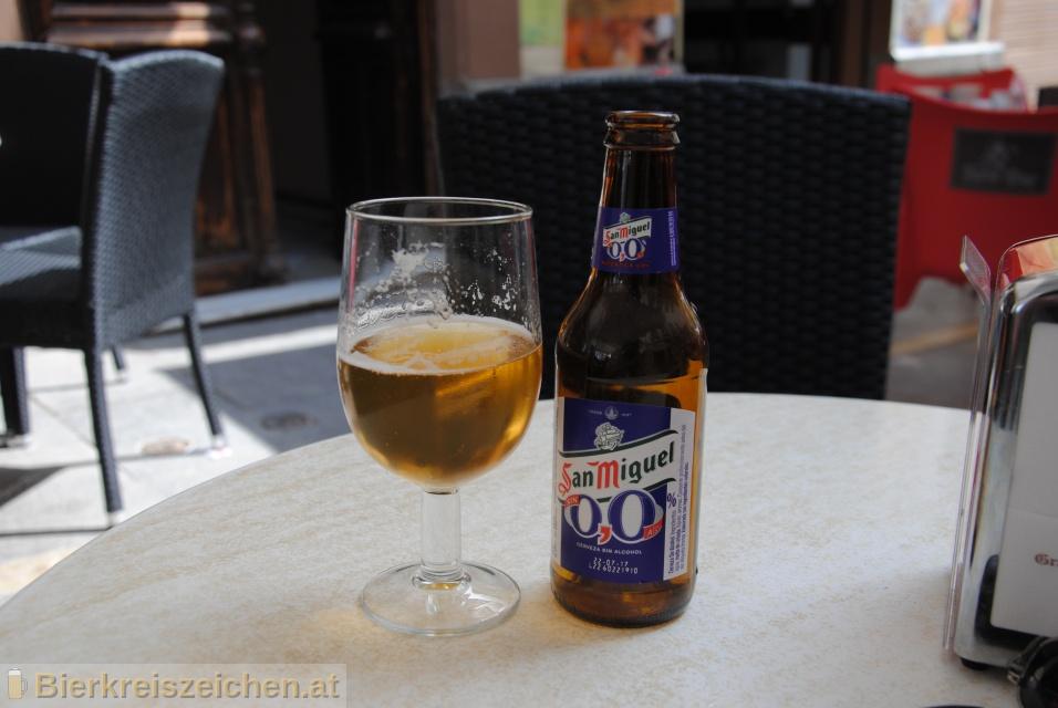 Foto eines Bieres der Marke San Miguel 0,0 aus der Brauerei San Miguel