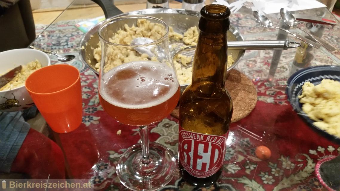 Foto eines Bieres der Marke Red Ale aus der Brauerei Brauerei Gusswerk