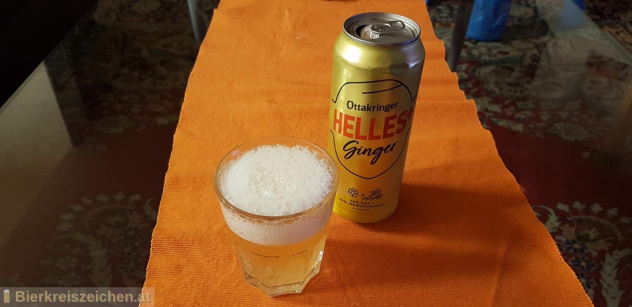 Foto eines Bieres der Marke Ottakringer Helles+ Ginger aus der Brauerei Ottakringer Brauerei