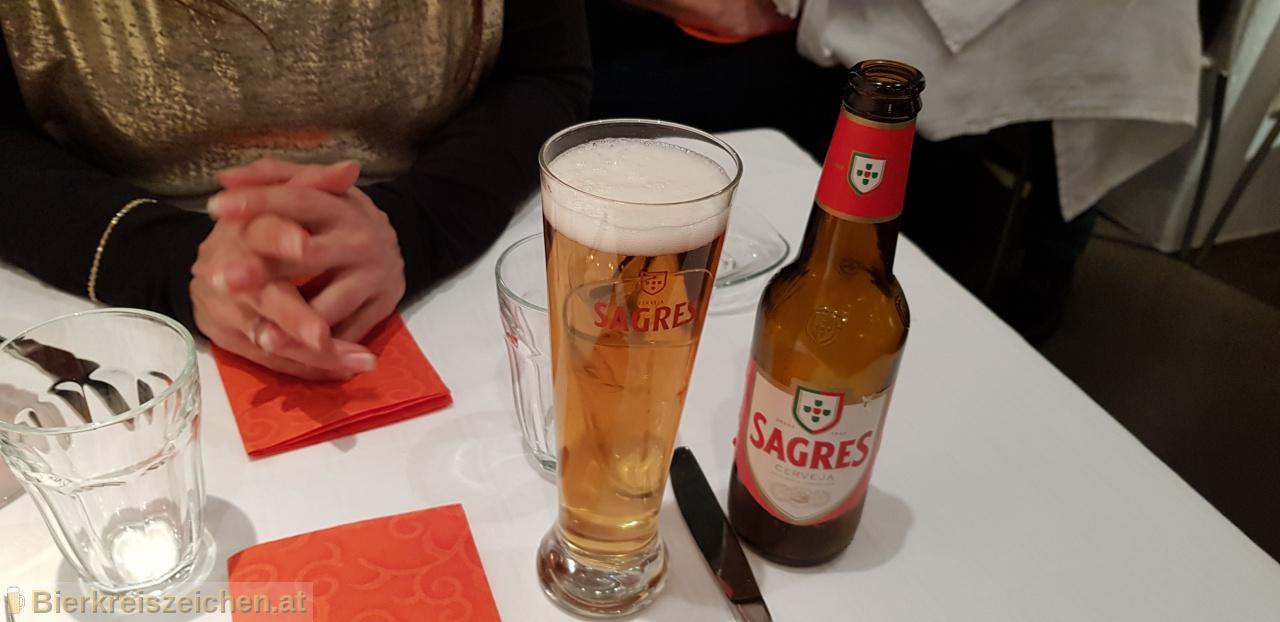 Foto eines Bieres der Marke Sagres Branca aus der Brauerei Sociedade Central de Cervejas e Bebidas