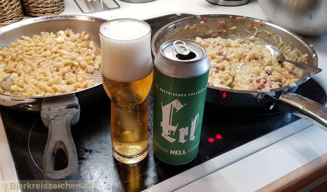 Foto eines Bieres der Marke Erl Hell aus der Brauerei Erl-Bräu