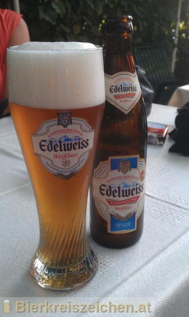 Foto eines Bieres der Marke Edelweiss Alkoholfrei aus der Brauerei Brau Union