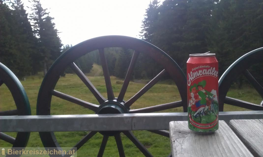Foto eines Bieres der Marke Almradler aus der Brauerei Almdudler