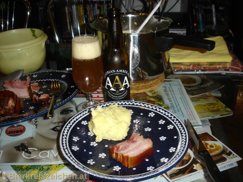 Foto eines Bieres der Marke AAA - Austrian Amber Ale aus der Brauerei Brauerei Gusswerk