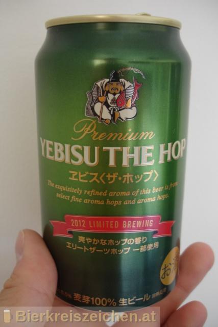 Foto eines Bieres der Marke Yebisu the Hop aus der Brauerei Sapporo Bīru Kabushiki-gaisha