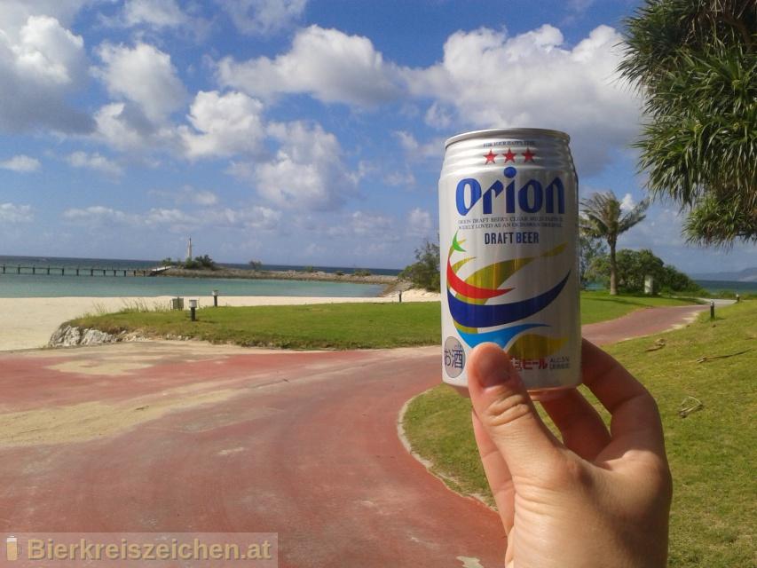 Foto eines Bieres der Marke Orion Draft Beer aus der Brauerei Orion Bīru Kabushiki Gaisha