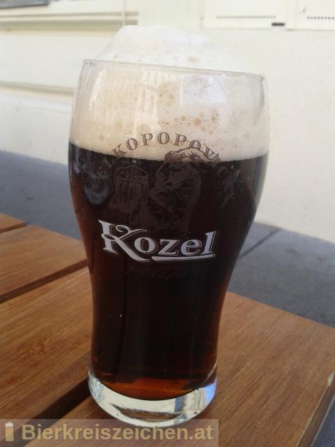 Foto eines Bieres der Marke Velkopopovický Kozel Dark (Dunkel) aus der Brauerei Brauerei Popovice