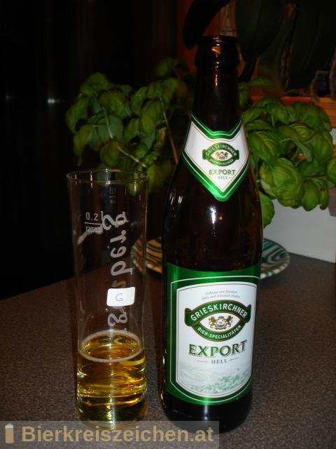 Foto eines Bieres der Marke Grieskirchner Export hell aus der Brauerei Brauerei Grieskirchen