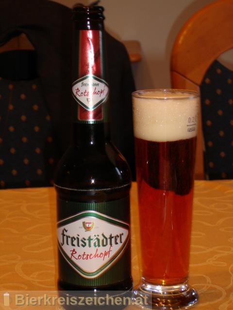 Foto eines Bieres der Marke Freistädter Rotschopf aus der Brauerei Braucommune in Freistadt