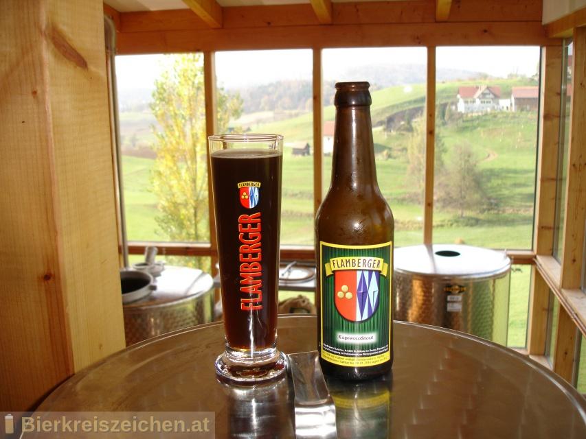 Foto eines Bieres der Marke Flamberger Espresso Stout aus der Brauerei Brauerei Flamberger