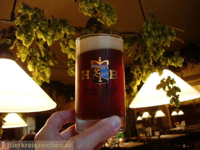Foto eines Bieres der Marke Hofbräu Dunkel aus der Brauerei Hofbräuhaus Traunstein Josef Sailer KG