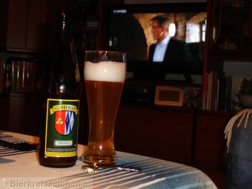Foto eines Bieres der Marke Flamberger Hefeweizen aus der Brauerei Brauerei Flamberger