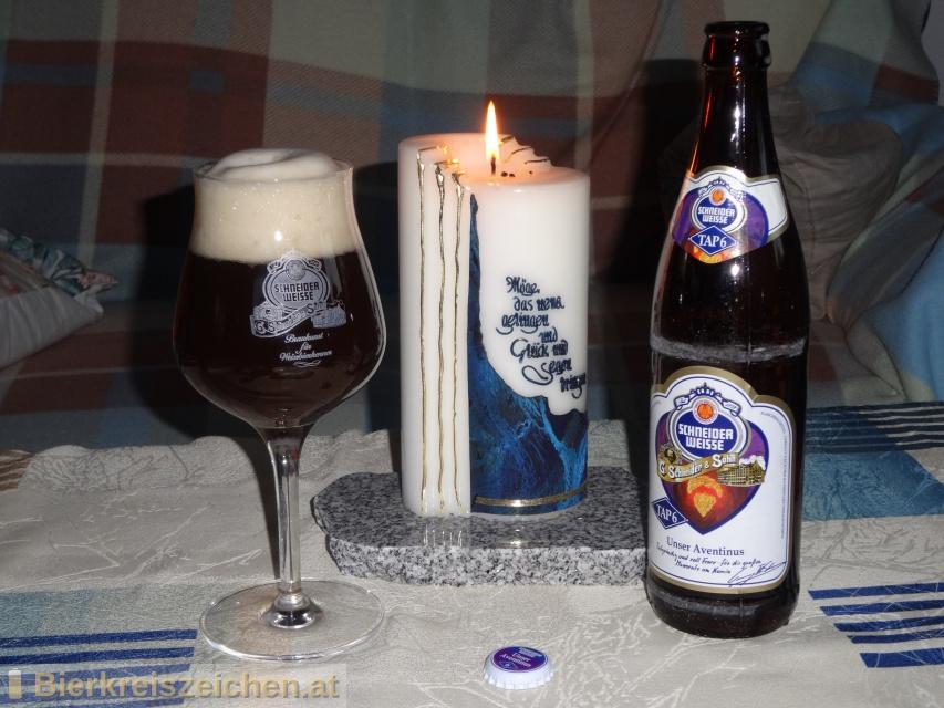 Foto eines Bieres der Marke TAP6 - Schneider Weisse Aventius aus der Brauerei Schneider Weisse