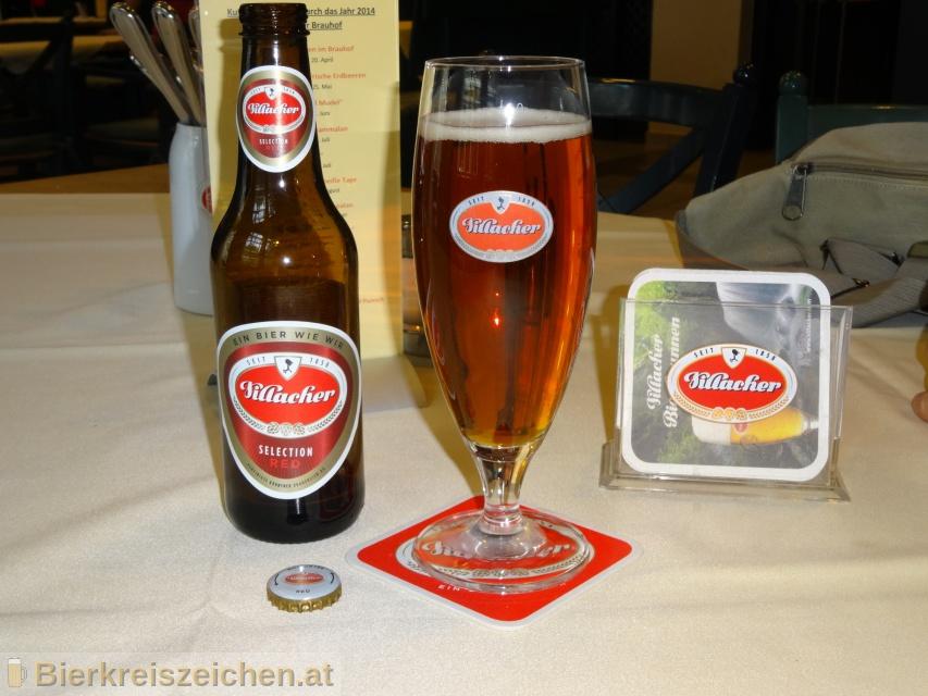 Foto eines Bieres der Marke Villacher Selection Red aus der Brauerei Villacher Brauerei