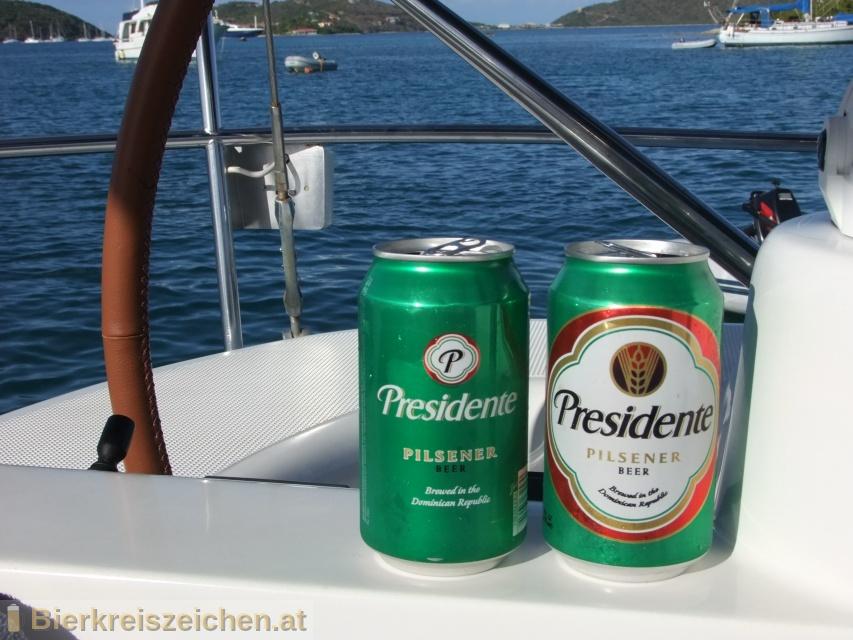Foto eines Bieres der Marke Presidente aus der Brauerei Cervecería Nacional Dominicana