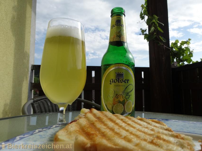 Foto eines Bieres der Marke Golser Radler aus der Brauerei Pannonia Brauerei Gols