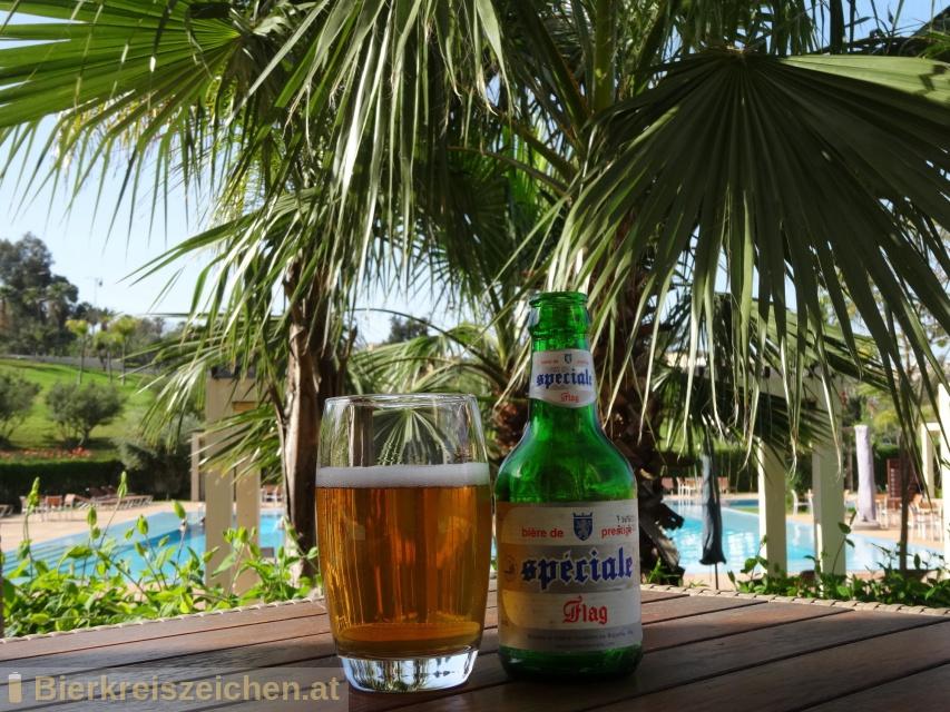 Foto eines Bieres der Marke Flag Spéciale aus der Brauerei Société des Brasseries du Maroc