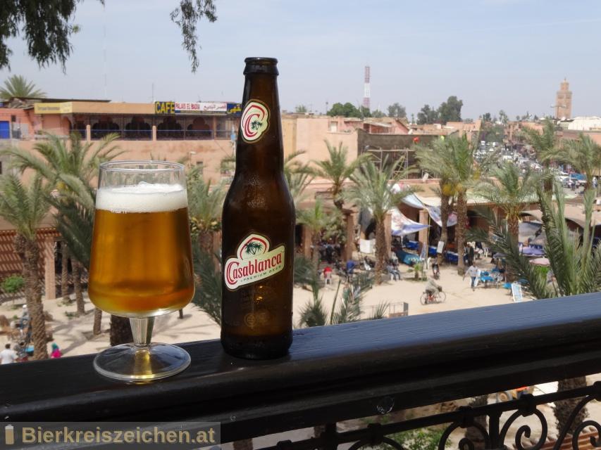 Foto eines Bieres der Marke Casablanca Premium Beer aus der Brauerei Société des Brasseries du Maroc