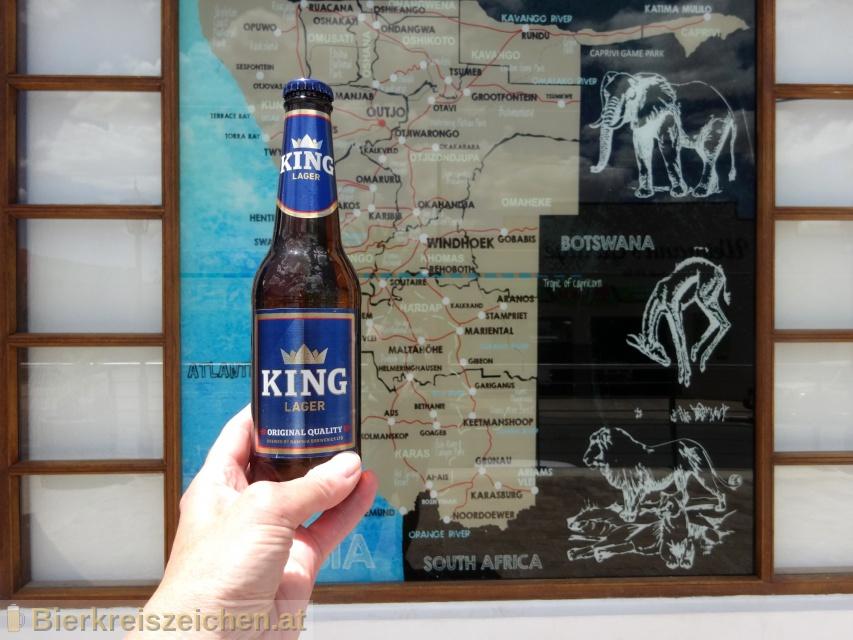Foto eines Bieres der Marke King Lager aus der Brauerei Namibia Breweries