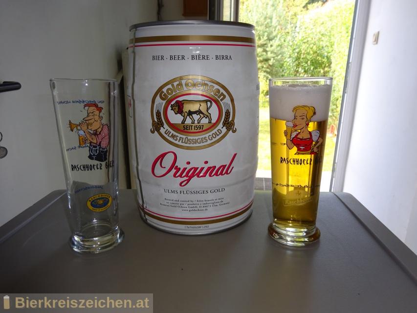 Foto eines Bieres der Marke Gold Ochsen Original aus der Brauerei Gold Ochsen