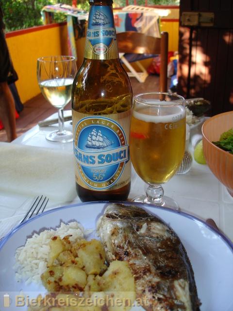 Foto eines Bieres der Marke Sans Souci Export Lager 5,6° aus der Brauerei Birra Moretti