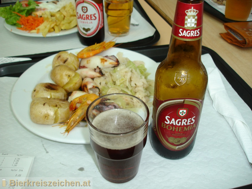 Foto eines Bieres der Marke Sagres Bohemia aus der Brauerei Sociedade Central de Cervejas e Bebidas