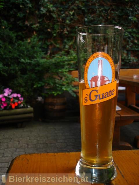 Foto eines Bieres der Marke s`Guate Kellerbier aus der Brauerei s'Kloane Brauhaus