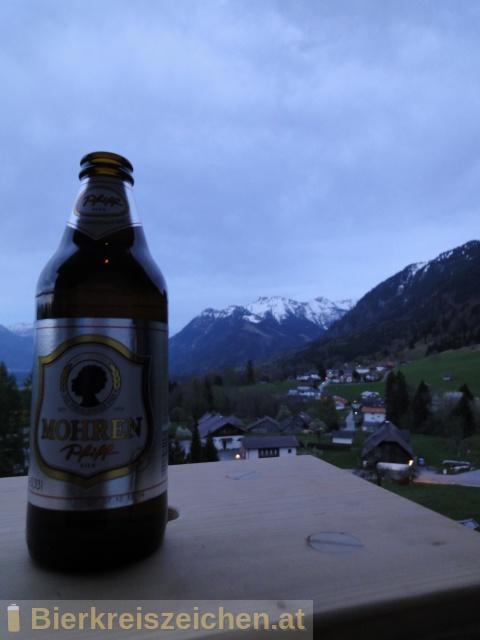 Foto eines Bieres der Marke Mohren Pfiff aus der Brauerei Mohrenbrauerei