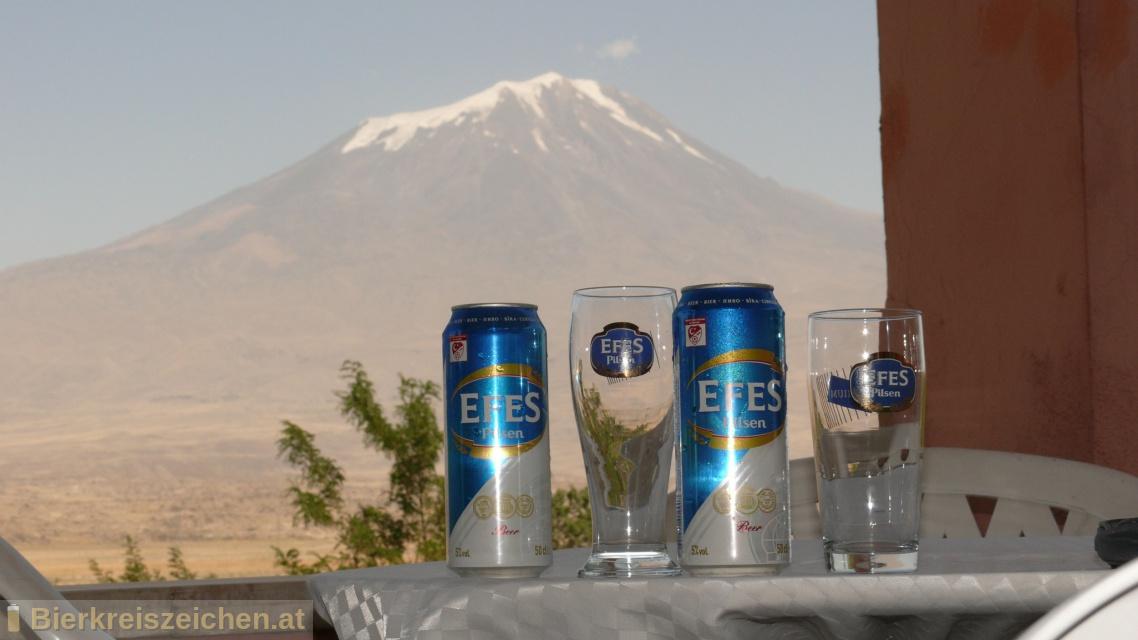 Foto eines Bieres der Marke Efes Pilsner aus der Brauerei Anadolu Efes Biracılık ve Malt Sanayii A.Ş
